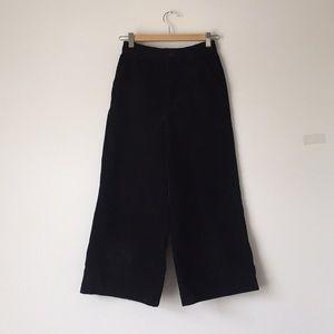 Pants - Black Coarse Corduroy High waisted culottes